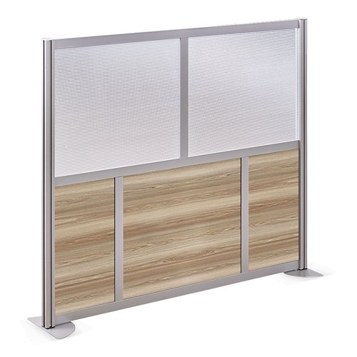At Work 61'' W x 53'' H Room Divider Warm Ash Laminate/Plexiglas Inserts/Brushed Nickel Finish/ Aluminum and Steel Frame by NBF Signature Series