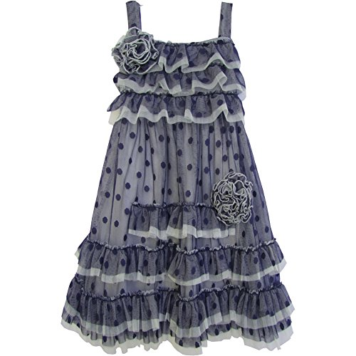 Isobella & Chloe Little Girls Navy Polka Dots Ruffle Flower Party Dress 2T