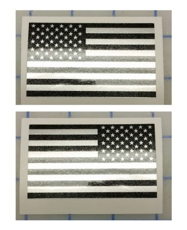 I Make DecalsTM – Ghosted US American subdued flag, FBA, Prime, silver with ghosted black print, 2″ X 3″, pair, Hard Hat, lunch box, vinyl decal car sticker