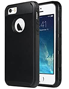 iPhone SE Case, iPhone 5S Case,iPhone 5 Case,ULAK [ Colorful Series ] Slim Fit Protection Case Shockproof Hard Rugged Ultra Protective Back Rubber Cover with Dual Layer Impact Protection(Black)