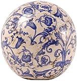 Esschert Design - Sfera di ceramica, 12 cm, blu e bianco