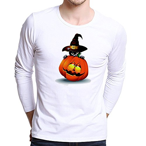 Halloween Men Tops,KIKOY Pumpkin Cat Printing Long Sleeve T Shirt Plus Size Blouse