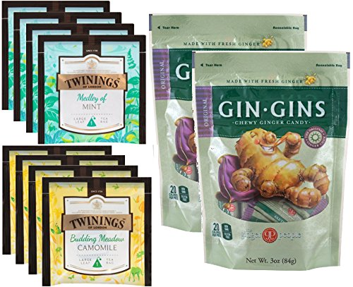 Twinings of London and Ginger People Tummy Tea Bundle - 4 Ch