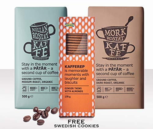 (IKEA Patar Organic Whole Organic Coffee Beans UTZ Certified (Combined Medium and Dark Roast 2pack, 17.7oz ea) + Free IKEA Swedish Ginger Snaps Cookies)