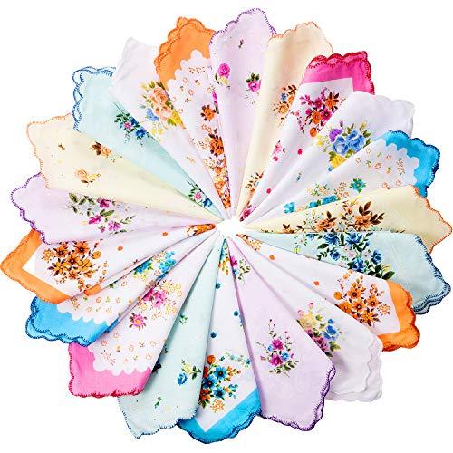 Zhanmai 20 Pieces Women Vintage Floral Print Cotton Colorful Ladies handkerchiefs
