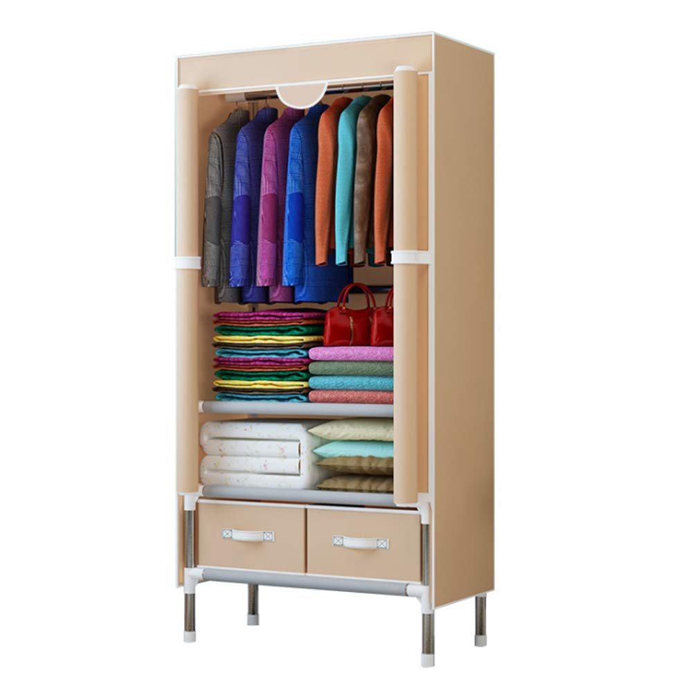 A KEOA Portable Wardrobe Storage Closet, Clothes Closet Armoire Double Rod Non-Woven Fabric with Door (70  45  170cm),B