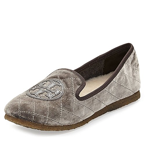 Flats Metallic Quilted (Tory Burch Billy Quilted Slipper Smart Velvet Metallic TB Logo Grey Pewter (7 M US))