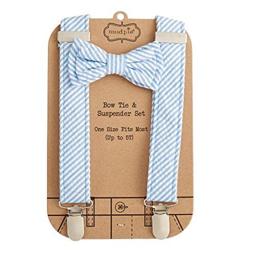 Mud Pie Little Gentleman Bow Tie and Suspender Set, Light Blue Seersucker (Mud Pie Little Boy compare prices)