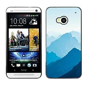 EJOY---Cubierta de la caja de protección la piel dura para el / HTC One M7 / --Blue Mountains