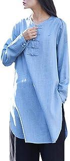IZHH Women Shirt, Autumn Ladies Cotton Linen Long Shirt Oversized Petticoat Holiday Mini Dress Solid Button Work Office Tunic 12-22