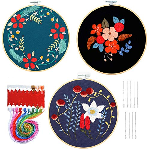 HaiMay 3 Sets Embroidery Starter Cross Stitch Kit with 3 Pieces Red Floral Pattern, Bamboo Embroidery Hoops, Color Threads and Tools Kit