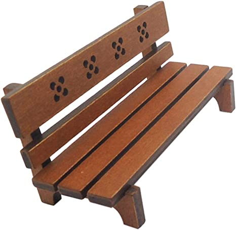 1//12 Dollhouse Miniature Outdoor Furniture Wooden Long Stool Model Toy Gift