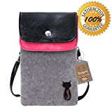 Big Mango Multipurpose Cat Design Two Separated Pouches Soft Fuzz and PU Leather Crossbody Purse for Apple iPhone 4/4s, iPhone 5/5s/5c, Samsung Galaxy S4/S3, Galaxy Note 2, HTC - Grey