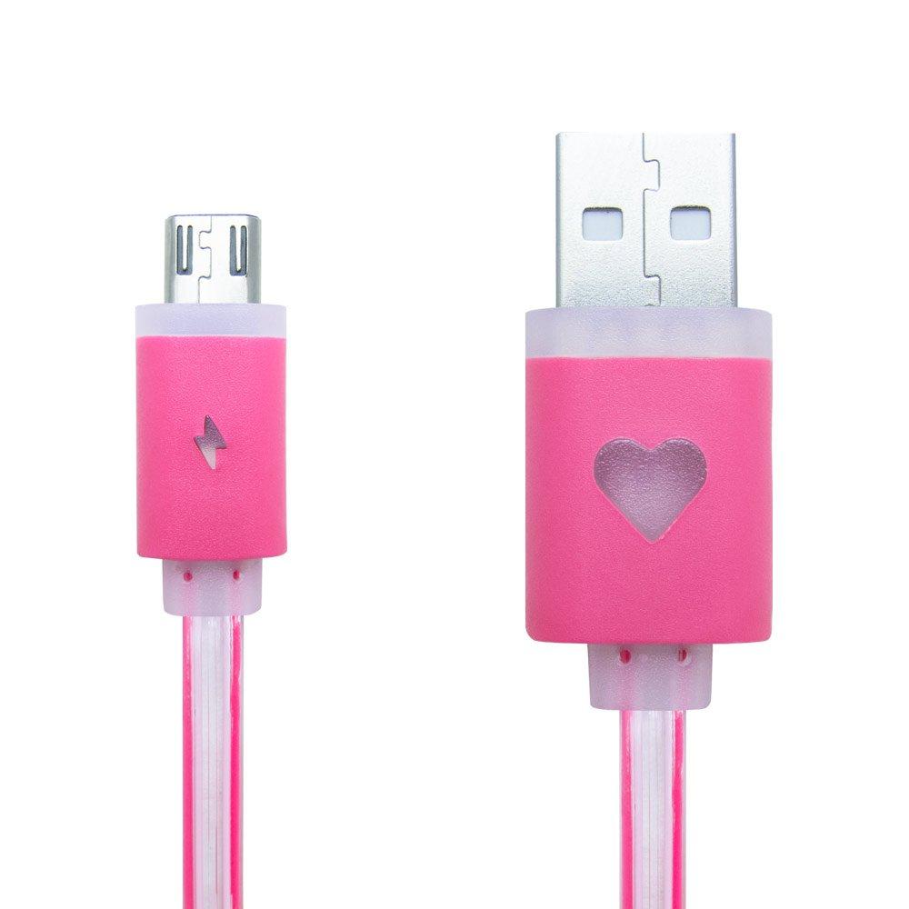 Creev MU-200L Premium High Speed ??Micro USB vers USB Data Sync Câble avec un design plat et éclairage à LED pour Smartphones et tablettes Android 1 mètre (Rose)