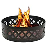 ZENY 36'' Portable Steel Fire Pit Ring Metal Campfire Ring Fire Rings Backyard Camping Cookout BBQ Patio