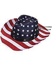 PRETYZOOM Cowboy Straw Hat Cowgirl Cap American Flags Sun Protection Hat Beach Hat for Man