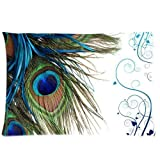 Custom Peacock Feather Pattern 07 Pillowcase Cushion Cover Design Standard Size 20X30 Two Sides