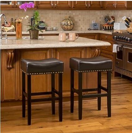 Remarkable Louigi Brown Backless Bronze Studded Leather 30 High Bar Stool Set Of 2 Andrewgaddart Wooden Chair Designs For Living Room Andrewgaddartcom