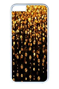 iPhone 6 plus Case, Glitter Diamond Yellow Gold Tassels Pattern PC Hard Plastic Case for iphone 6 plus 5.5 inch Whtie