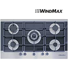 """WINDMAX 36"""" Black Electric Tempered Glass Built-in Kitchen 5 Burner Gas Cooktop"""