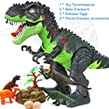 HANMUN Electronic Toys Green Walking Tyrannosaurus Rex Dinosaur with Baby Dinosaurs Accessaries with Lights & Sounds, Real Movement, Multicolor ¡