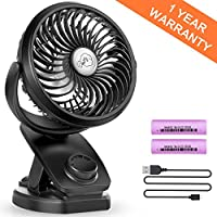 Battery Operated Clip on Stroller Fan - Mini Portable Desk Fan with Rechargeable 4400mA Battery Powered Fan for Baby Stroller, Outdoor Activities (Max 40Hours)