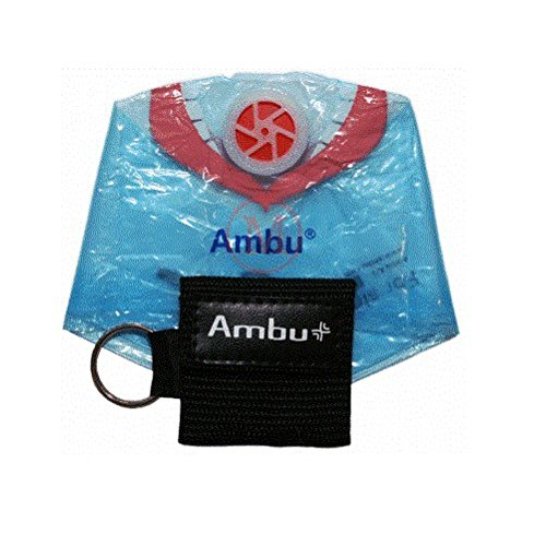 AMBU 248 201 102 Black Nylon Res-Cue Key CPR Mask with Mini Keychain Pouch