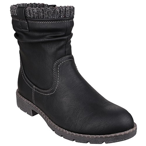 Black Black Ankle Lucca Boots Boots Cold Synthetic Weather Boots Biker Divaz wvEtq51