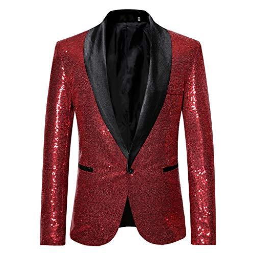 Coat Charm Jacket Sequin Party Top Casual One Button Fit Suit Blazer Stylish Solid Suit Business Wedding Party Outwear Tops Blouse Men (S,8#Wine)