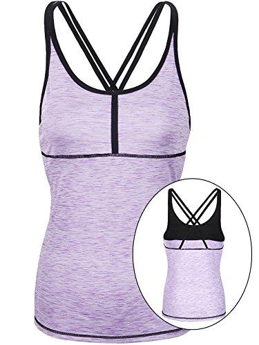 Fastorm Women/Girls Petite Sports Strappy Crossback Tank Tops w Built In Bra For Tennis, Yoga, Running, Workout Purple XL