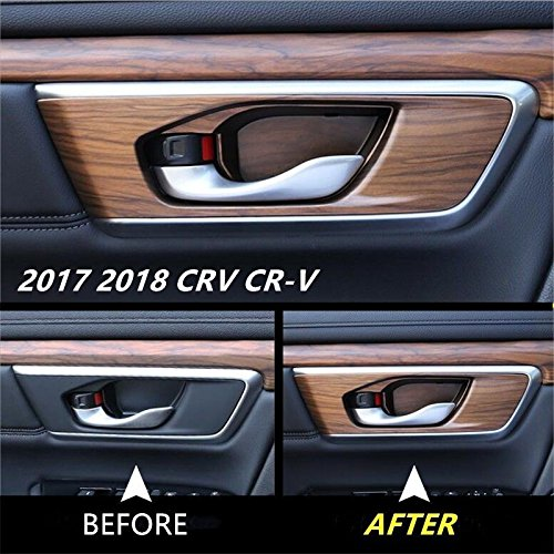 Flash2ning for Honda CRV CR-V 2017 2018 2019 Peach Wood Grain Indoor Bowl Panel Trim Cover 4P (Without Openings for Memory Seats ()