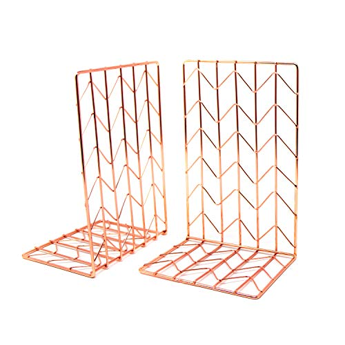 Elegant Rose Gold Bookends Pair 4.7x3.7x7 Premium Stainless Steel with Exquisite Look, Feel, Texture Book Ends. Fashion & Nobility for Shelves, Kitchen Cookbooks, Decorative for Adults & Kids