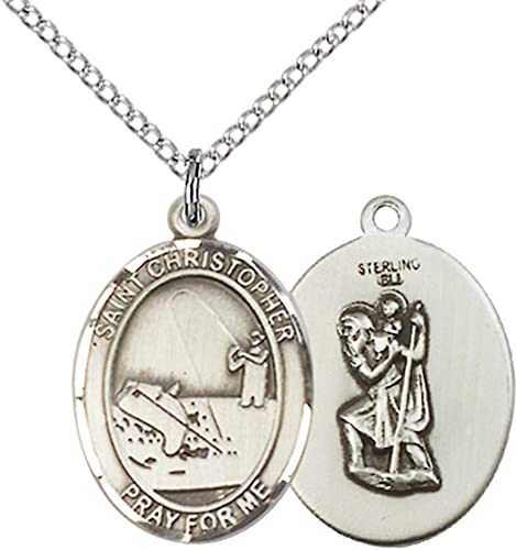 Made In USA Jewels Obsession St Christopher Pendant Christopher Pendant Sterling Silver St 18 Chain
