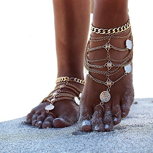 Pierre LaMarreDS Sexy Multi Chain Tassels Anklets Antique Coin Ankle Bracelets Barefoot Sandals Beach Foot Jewelry for Summer