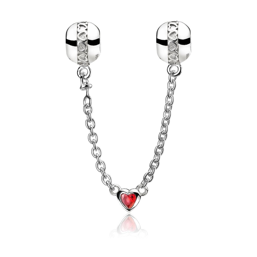ATHENAIE 925 Sterling Silver Love Heart Connection Clair CZ Safety Chain Fit European Bracelets