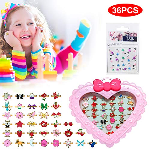 36PCS Kid Jewelry Rings Little Girls Rings with Nail Sticker in Box, Adjustable Rings for Little Girls Jewelry Sets, Dress Up Jewelry Rings Best Gift for Children