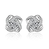 S.Vantine Twist Shape Women's Stud Earrings Basic Love 925 Ster...