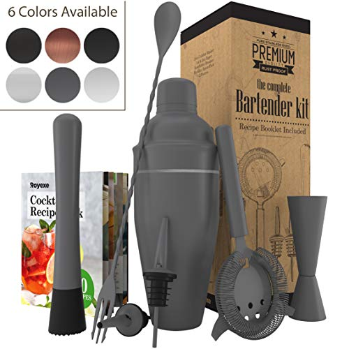 All-inclusive Bar Set | Professional Home Bartender Cocktail Shaker Set | Includes a Recipe Book & All Necessary Bar Tools and Accessories | Impressive Gift for Men! (Matte Grey)