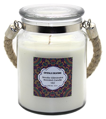 Crystalo Creations Smoke Eliminator Scented Candle with Rope Handle, 18 Ounce ()