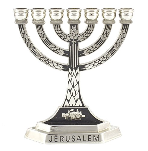 17 centimetres Brass Rimmon Judaica Hanukkah Menorah with 9 Branches