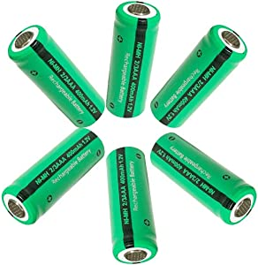 6pcs 2/3AAA Size NiMH Rechargeable Battery 400mah with Flat Top(Not AAA Size Battery)