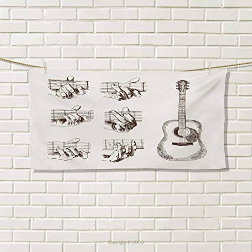 Guitar,Hand Towel,Sketch Art Style Instrument and Chords Acoustic Flamenco Technique Skill Talent,Quick-Dry Towels,Cream Brown Size: W 20