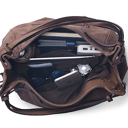 W Handbags JOYSON Grey Hobo Shoulder Dark PU Satchel Large Women 16cm L 29cm 39cm Bags Leather H Crossbody Handbags qnAw1xqZB
