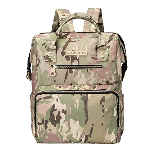 SoHo tactic diaper bag backpack Wide Opening 6 pcs nappy tote bag for baby mom dad stylish insulated unisex multifunction large capacity waterproof durable includes changing pad stroller straps Camo