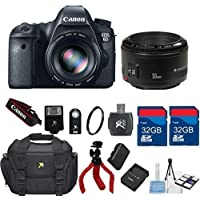 Canon EOS 6D 20.2 MP CMOS Digital SLR Camera + Canon EF 50mm f/1.8 II Lens + 64GB In Memory + Carry Case + Flexible Tripod + Wireless Shutter Remote + 6pc Starter Kit - International Version