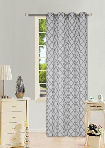 GorgeousHomeLinen (S38) 1 Pattern Design Voile Sheer Two-Tone Window Treatment Curtain Drape Panel 8 Silver Grommets 55″ W X 84″ L (WHITE-GREY)