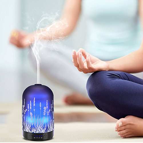 Aromatherapy Essential Oil Diffuser 100ml Glass Fragrance Lavender Cold Mist Humidifier Waterless Automatic Shutdown 7 Colour LED Lights 4 Timed Settings For Home Office Yoga Spa ?- ¡ by PUSEAYZ (Image #4)