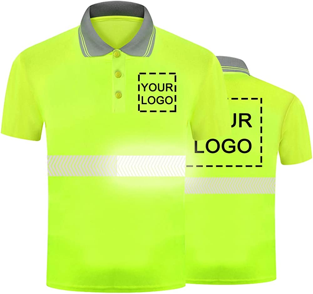 Hi Vis Safety Polo Shirt Custom Your Logo Short Sleeve T-Shirts with Reflective Strips