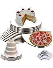 """(8"""", Pack of 50) 8 inch cake circles, 8"""" round white cake circles cake board 8 inch round Sturdy White Corrugated Cardboard, 100% Food Safe 8 inch cake board"""