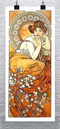 Topaz 1900 Alphonse Mucha Art Nouveau Rolled Canvas Giclee Print 17x36 Inches -